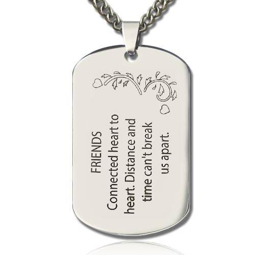 titanium steel best friends dog tag name necklace