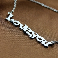 Easy-matching Cute Cartoon Ravie Font Solid White Gold Name Necklace