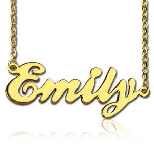 Cursive Script Name Necklace Solid Gold