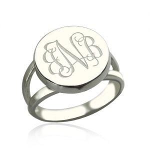 Delicate Signet Ring with Engraved Initials- Sterling Silver Circle Monogram Signet Ring