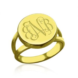 An Attractive Fancy Silver Monogram Ring- 18K Gold Plated Circle Monogram Signet Ring