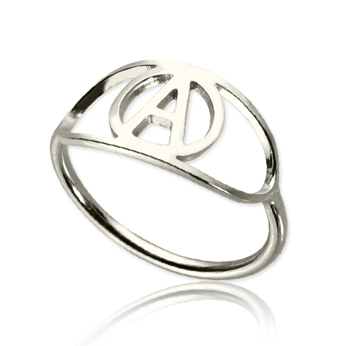 Personalized Eye Ring with Initial Sterling Silver