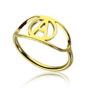 Personalized Eye Ring with Initial 18k Gold Plated