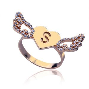 Heart Angel Wings Ring Engraved Initial & Birthstone Rose Gold