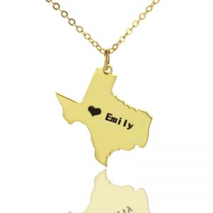 Custom USA State Map Necklace With Heart & Name Gold Plated