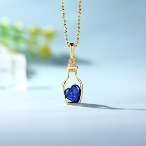 Ideal Personalized Drift Bottle with Heart Birthstone Necklace In Gold