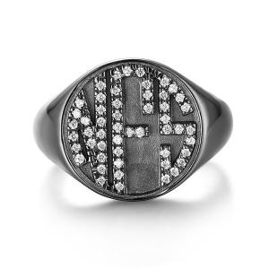Personalised CZ Circle Monogram Ring Black plated