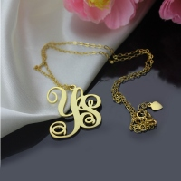 Collier Monogramme-2 Initials-Plaqué Or 18ct
