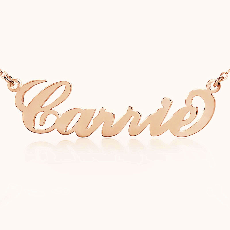 Personalized carrie name necklace solid rose gold aloadofball Images