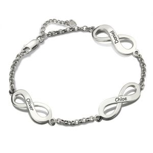 Personalized Infinity Motherhood Name Bracelet Sterling Silver