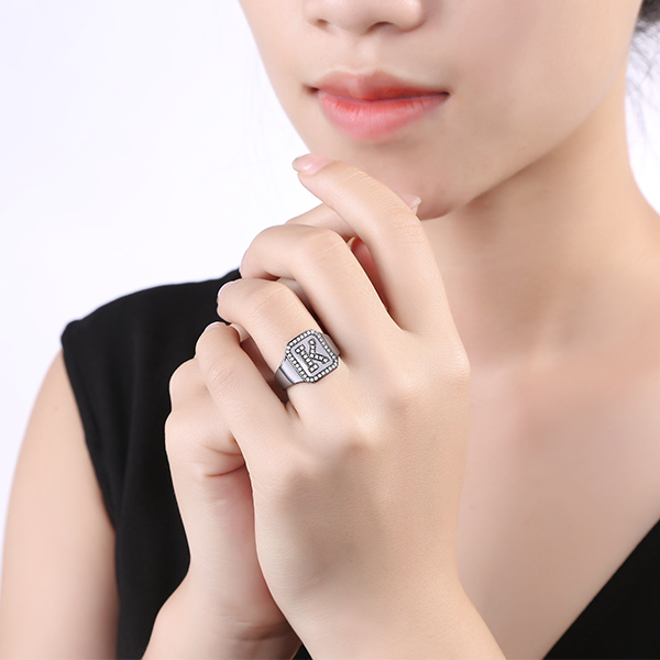 black plated initial ring