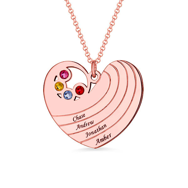 Personalised Heart Necklace with Birthstone&Name In Rose Gold
