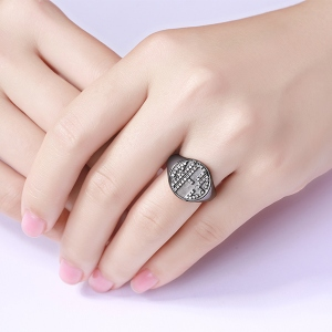 Endearing Personalized CZ Circle Monogram Ring Black plated