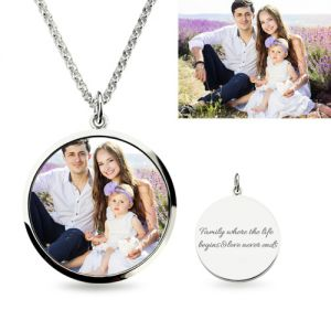 Stylish Sterling Silver Small Round Engraved Epoxy Color Photography Necklace