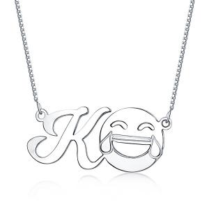 Personalisierte Memorial Halskette mit  Initial und Emoji in Sterling Silber