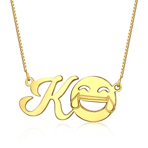 Incredible Personalized Memorial Initial Emoji Letter Necklace Sterling Silver in Gold