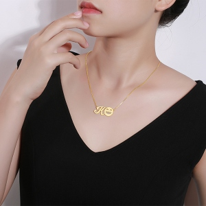 Personalized Memorial Initial Emoji Letter Necklace Sterling Silver in Gold