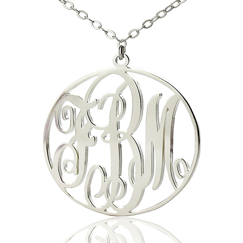 Personalized solid white gold vine font circle initial monogram necklace mozeypictures Choice Image
