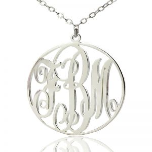 Solid White Gold Vine Font Circle Initial Monogram Necklace