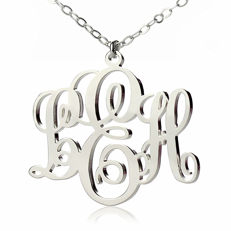 Personalized vine font initial monogram necklace solid white gold aloadofball Gallery