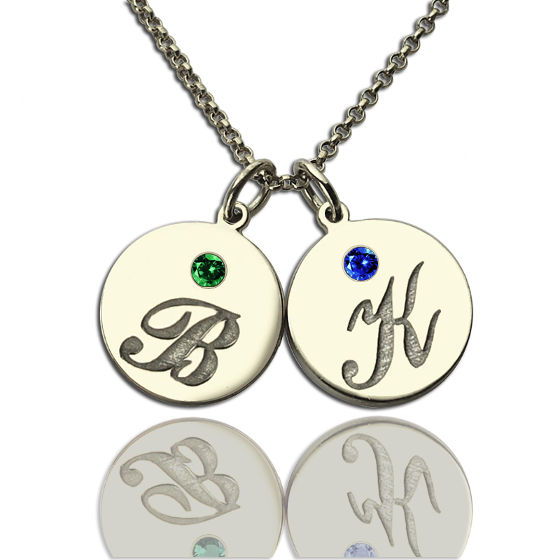 engraved little silver disc product necklace print sterling paw name the