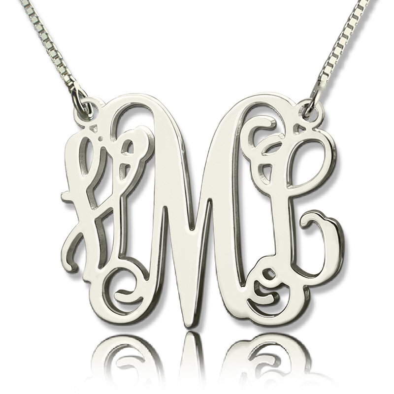 Personalized monogram initial necklace sterling silver aloadofball Images
