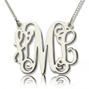Personalized Monogram Initial Necklace Sterling Silver