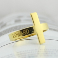 Engraved Name Cross Ring 18k Gold Plated