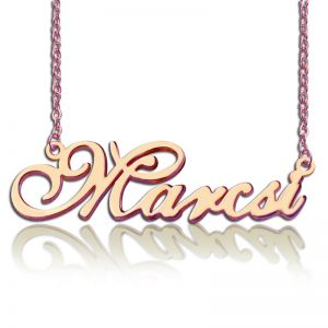 Custom Nameplate Necklace 18K Rose Gold Plated