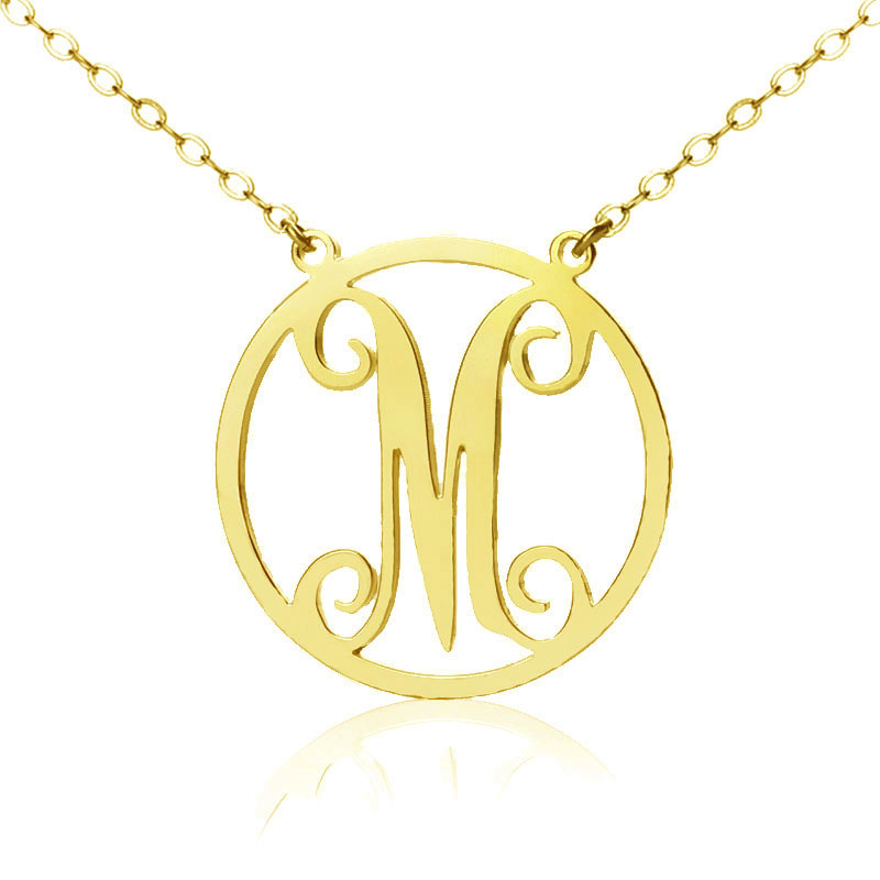 Solid gold single initial circle monogram necklace mozeypictures Gallery