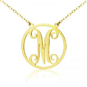 Unusual Solid Gold Single Initial Circle Monogram Necklace