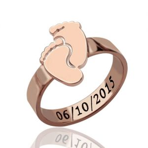 Engraved Birth Date Baby Feet Ring For Mom Rose Gold