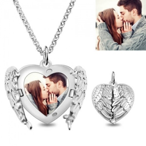 Unequalled Engravable Angel Wings Sterling Silver Heart Photo Locket Necklace