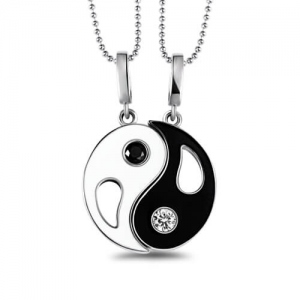 Custom Yin Yang Necklace with 2 Pendants & Birthstones