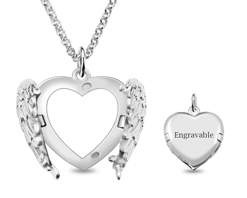 Engravable angel wings sterling silver heart photo locket necklace aloadofball Image collections