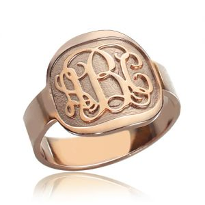 Fancy Engraved Round Monogram Initial Ring Rose Gold