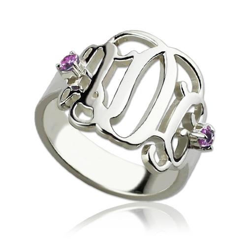 Birthstones Monogram Ring For Women Sterling Silver