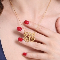 Custom Monogram Necklace 18K Gold Plated