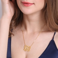 Collier Monogramme-3 Initials-Plaqué Or 18ct