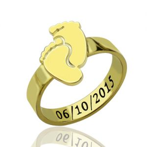 Engraved Baby Feet Ring For Mom 18K Gold Plated Silver