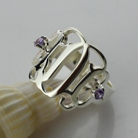 Birthstones Monogram Ring For Women Sterling Silver