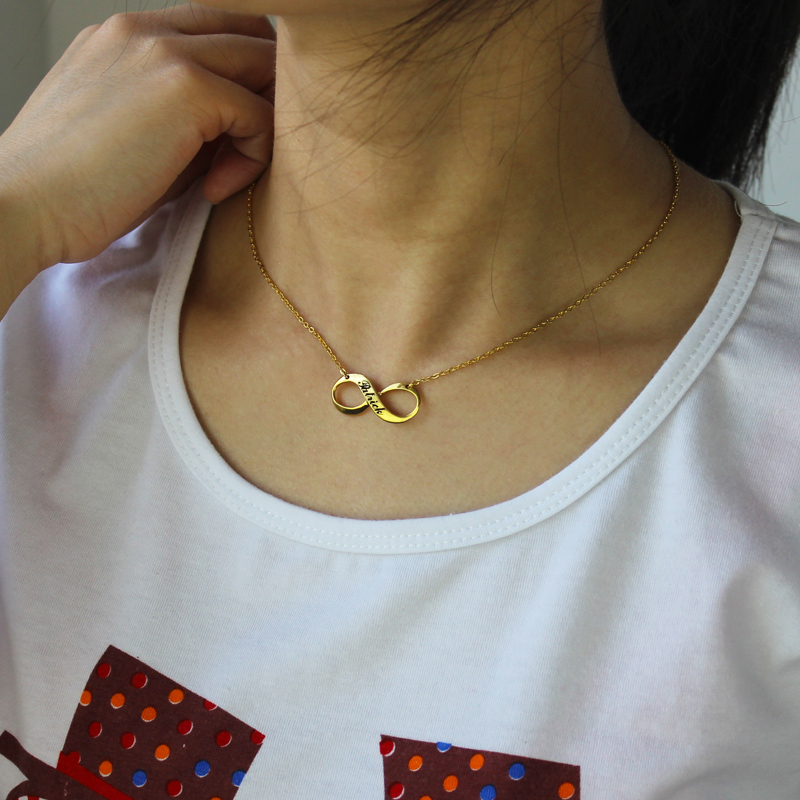Infinity Symbol Jewelry Necklace Engraved Name 18k Gold Plated