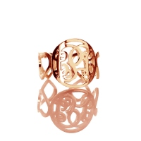 Monogram Ring with Heart Initials Rose Gold Plated Silver