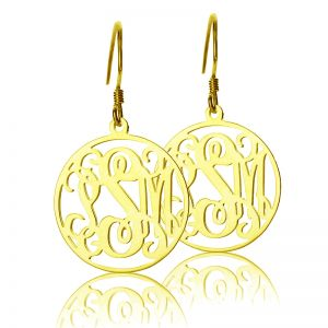 Solid Gold Personalized Circle Monogram Earrings