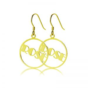 Splendid Solid Gold Broadway Font Circle Name Earrings