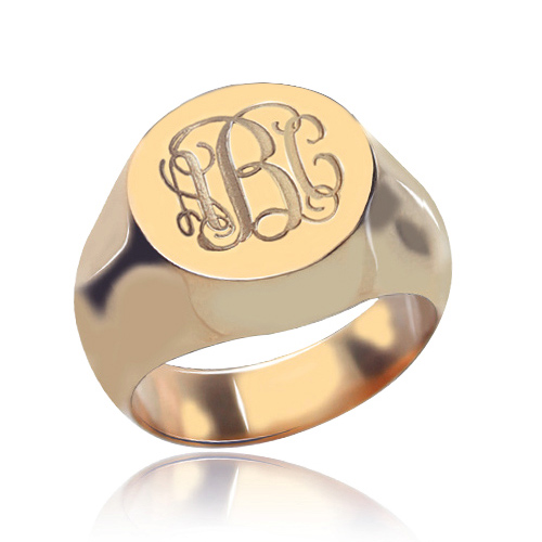 Circle Design Signet Monogram Initial Ring Rose Gold