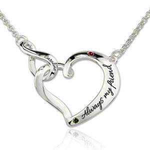 Infinity Open Heart Engraved Birthstones Necklace Platinum Plated