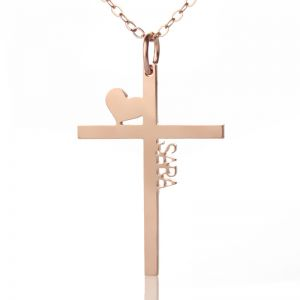 Personalized Rose Gold Plated Silver Cross Name Necklace with Heart