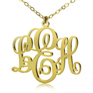 Special Personalized Vine Font Initial Monogram Necklace Solid Gold
