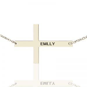 Engraved Silver Latin Cross Name Necklace 1.6